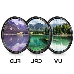 58mm Filter Kit 3 piece UV FLD CPL Filters For Canon Nikon S
